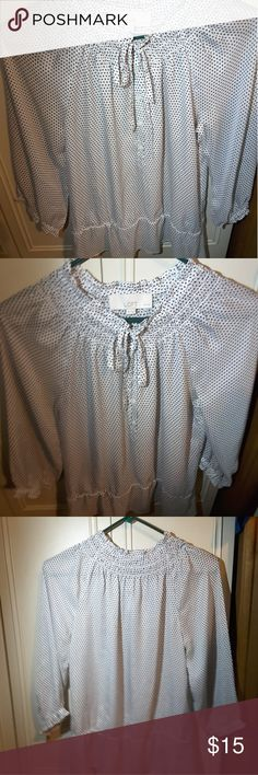 Black & White See Through Loft  Blouse Main white shirt with Black squares on the shirt, with buttons on the front, very comfortable with 3/4 sleeves LOFT Tops Blouses