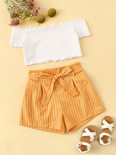 Kiddie Girls Off The Shoulder Frill Trim Bardot Top And Striped Belted Shorts Set - Kindermode Cute Teen Outfits, Teenage Girl Outfits, Girls Fashion Clothes, Kids Outfits Girls, Summer Fashion Outfits, Cute Summer Outfits, Teenager Outfits, Simple Outfits, Cute Fashion