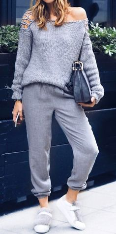 #fall #style Grey Shoulderless Sweater & Pants // White Sneakers
