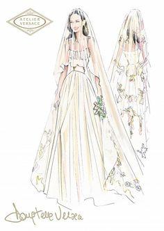 Croquis do vestido de Angelina Jolie by Atelier Versace.