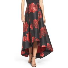 Women's Eliza J Floral Jacquard Skirt ($248) ❤ liked on Polyvore featuring skirts, black red, floral printed skirt, floral skirt, jacquard skirt, high-low skirt and ball skirts