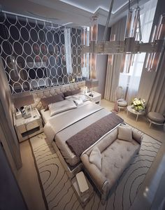 Luxury modern bedroom with circle style wall mirror
