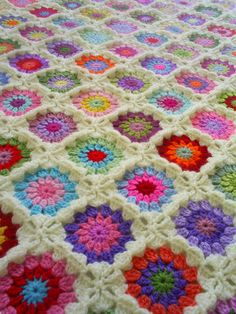 colorful granny square blanket by handmadebyria on Etsy