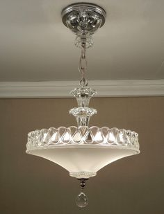 antique 1940s vintage american art deco white pressed glass chrome ceiling light fixture chandelier rewired art glass lighting fixtures