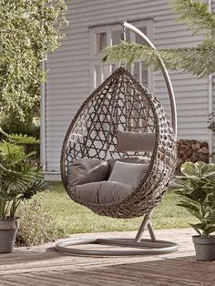 Inspired by Rohe Noordwoldes egg chair, our Teardrop Hanging Chair has an inviting form, suspended from a metal frame to gently move when youre nestled within. A wonderful open weave in realistic faux rattan, strikes an elegant pattern, to this most wond Outdoor Furniture Chairs, Dining Table Chairs, Garden Furniture, Hanging Egg Chair, Swinging Chair, Garden Hanging Chair, Hanging Beds, Outdoor Hanging Chair, Outdoor Bean Bag