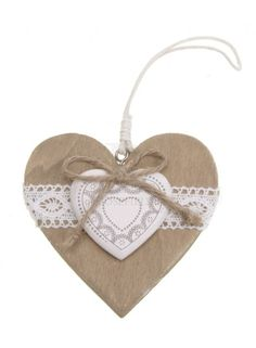 Hanging Wooden Heart With Lace @ rosefields.co.uk