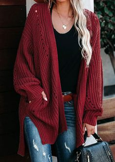 Our Heating Up Drop Sleeve Knit Cardigan is featuring quality knitted fabric that will not easy deform. The classic cable texture with hollow is a relaxed fit layers over your casual looks and instantly adds a cozy style. It opens in front with long sleeves and side pockets. Wear with your jeans and boots for a winter look. View our Latest Winter Apparel Range