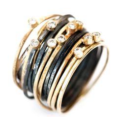 disa allsopp 18k and oxidized silver spaghettig ring with diamonds