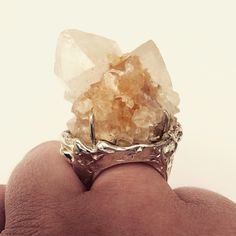 R I N G- now that's a serious party ring! Sterling silver and citrine spirit quartz. #silver #ring #statementring #jewellery #jewelry  #spiritquartz #quartz #gemstone #crystaljewellery #madeinmelbourne #lizzieslatteryjewellery