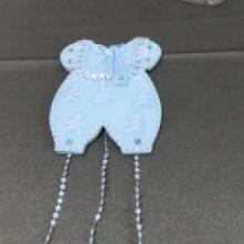 mavi önlük kapı süsü , mavi kumaştan mamül kapıya asmak için uygun