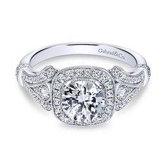 Delilah 14k White Gold Round Halo Engagement Ring angle 1