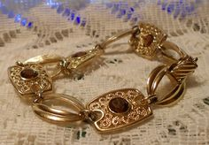 Vintage Gold Tone Link Bracelet with Brown by ViksVintageJewelry, $14.99