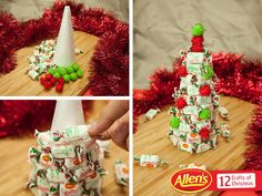 The red, white and green ALLEN'S MINTIES wrappers make a great Christmas tree table decoration! All you need is MINTIES, a styrofoam cone, needle and thread (to attach), and some small decorations.