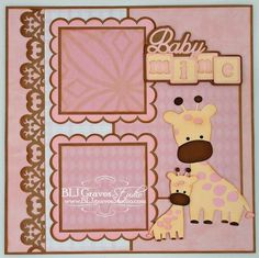 BLJ Graves Studio: Baby Boy & Girl Scrapbook Pages use the Martha stewart deep heart punch
