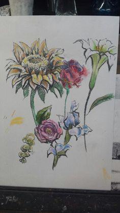 Flores con color. Carboncillo y pastel. 17 de junio 2015