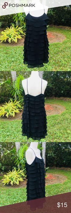 Black Spaghetti Ruffle Dress Black spaghetti layered ruffle dress. 37 inches long Danny & Nicole Dresses