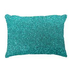 Bright aqua glitter decorative pillow