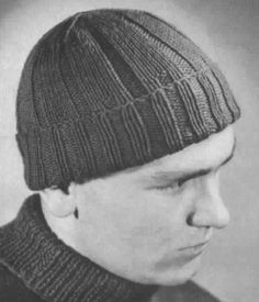 WW II Watch Cap! This pattern was originally published in 1940 by the American Red Cross. Women would sit in groups and knit these warm hats for our boys in uniform. The decreases produce a flat top guaranteed not to be pointy.