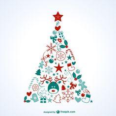 Árbol de Navidad con iconos Vector Gratis
