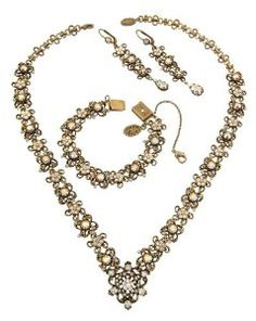 Vintage Style Michal Negrin Jewelry Set made with Floral Elements,$585.00