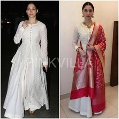 Tamannaah attended an event recently for a jewellery brand that she endorses.She wore an outfit by Matsya that included a white anarkali, and adding . White Anarkali, Anarkali Dress, Pakistani Dresses, Indian Dresses, White Kurta, Anarkali Suits, Lehenga, Sarees, Ethnic Outfits