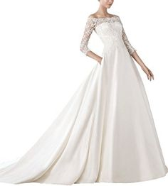 Now and Forever Off Shoulder A Line Satin Wedding Dress 3/4 Sleeves(26W,ivory)