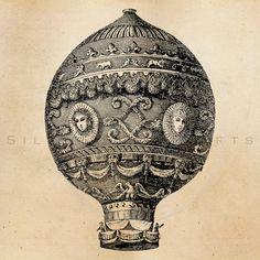 Vintage Hot Air Balloon Illustration by SilverSpiralStudio on Etsy