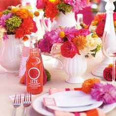 Pink and orange party table