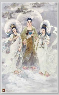 Buddhist Teachings, Buddhist Art, Mahayana Buddhism, Amitabha Buddha, Art Chinois, Chinese Mythology, Buddha Painting, Buddha Zen, Tibetan Art
