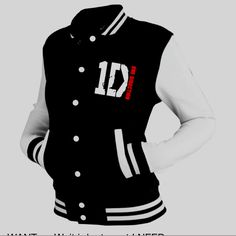 everyone seems now to want a One Direction varsity jacket. They have brought out their own range of jackets and I have to say they look pretty cool. One Direction Shoes, One Direction Merch, Teen Jackets, Varsity Jackets, Outerwear Jackets, Letterman Jackets, 1d Tour, Black And White Jacket, Black White