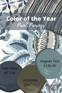 Aegean Teal, Hale Navy, and Artichoke #colorideas #colorathome #homecolorpalettes #blue #green #aegeanteal #interiordesign #interiordesigncolorpalette Paint Color Schemes, House Color Schemes, House Colors, Benjamin Moore Paint, Benjamin Moore Colors, Benjamin Moore Hale Navy, Benjamin Moore Exterior, Interior Paint Colors, Paint Colors For Home
