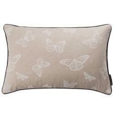 Mariposa White Butterfly Print Rectangular Cushion