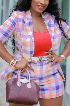 Purple Fashion Casual Plaid Print Suit Shorts Set Denim Fashion, Fashion Outfits, Style Fashion, Fashion Site, Mom Fashion, Curvy Outfits, Fashion Today, Dressy Outfits, Cheap Fashion