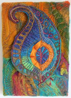 """chelle textiles This would be a good way to balance """"passing through"""" Thread Painting, Fabric Painting, Fabric Art, Textile Fiber Art, Textile Artists, Fiber Art Quilts, Free Motion Embroidery, Embroidery Art, Art Du Fil"""