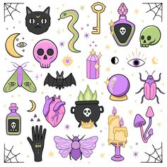 Halloween Illustration, Halloween Drawings, Illustration Art, Astrological Elements, Crystal Drawing, Magic Theme, Halloween Acrylic Nails, Gothic Angel, Simple Nail Art Designs