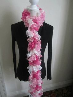 Hand Knit Ruffle Sparkle Knit Scarf on Etsy, $15.00