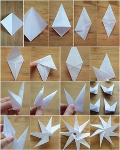 Christmas decorations made from paper - ideas with instructions- Weihnachtsdeko basteln aus Papier – Ideen mit Anleitung Origami Paper Stars Fold – Instructions More - Design Origami, Instruções Origami, Dollar Origami, Origami Dragon, Origami Bookmark, Origami Folding, Paper Folding, Paper Christmas Decorations, Paper Ornaments