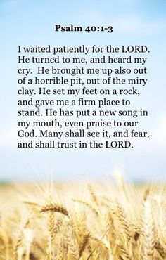 """I waited patiently for the LORD; And He inclined to me, And heard my cry. He also brought me up out of a horrible pit, Out of the miry clay, And set my feet upon a rock, And established my steps. He has put a new song in my mouth— Praise to our God; Many will see it and fear, And will trust in the LORD."" ‭‭Psalms‬ ‭40:1-3‬ ‭NKJV‬‬"