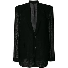 Ann Demeulemeester oversized blazer ($1,370) ❤ liked on Polyvore featuring outerwear, jackets, blazers, black, oversized jacket, ann demeulemeester jacket, oversized blazer, long jacket and ann demeulemeester