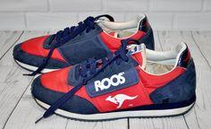 Vintage 80s KangaROOS Tennis Shoes Zipper Pocket Red Blue Suede Rare Mens Size 7