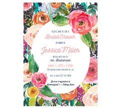 Set of Printed Invitations + Envelopes or Digital File - Floral Watercolor Bridal Wedding Shower or Baby Shower Invitation