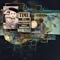 Scrapiniec inspirations on blogspot: Mixed-media layout by Elena Lishchenko