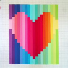 Rainbow baby quilt top by Catherine Mosley. What a fun way to piece strips!