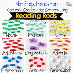 Reading Rods Sentence Construction Cubes For Kids Ages Learn Grammar, Usage And Punctuation, Visual Aid For Parts of Speech And Affixes, Homeschool Supplies (Set of Small Group Activities, Spelling Activities, Alphabet Activities, Teaching Sight Words, Phonics Words, Homeschool Supplies, Homeschool Kindergarten, Literacy Stations, Literacy Centers