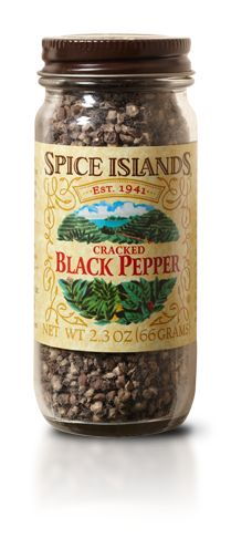 PEPPER, BLACK CRACKED  The world's most popular and frequently traded spice, black pepper is prized for its hot, biting flavor and pungent aroma.     We source our Spice Islands® black peppercorns from Vietnam, India and Malaysia, where the climate and soil combine to produce premium-quality pepper berries. Once the berries are dried, they're carefully cracked to create a bold, full-bodied pepper.    Rub cracked pepper on steaks or chops before grilling to add a burst of flavor.
