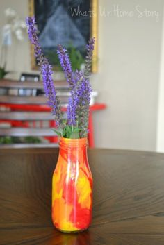 Painted vase from Frappuccino bottles www.whatsurhomestory.com
