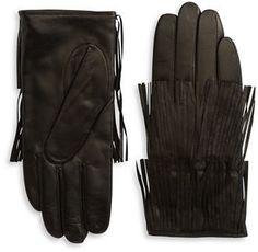 Carolina Amato Fringed Leather Gloves