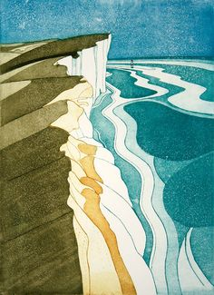 Beachy Head by John Brunsdon – available to buy online. Scenary Paintings, Aesthetic Drawing, Abstract Landscape, Landscape Paintings, Linocut Prints, Art Plastique, Woodblock Print, Art Techniques, Printmaking