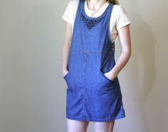 Vintage DENIM Pinafore / 1990s Clothing / Cotton by BluegrassBooty, $54.00