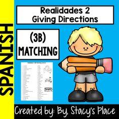 Realidades 2: 3B Matching Worksheet Activity
